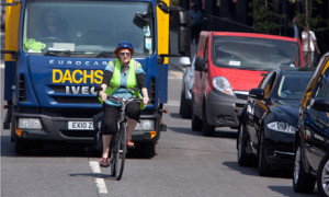 A female cyclist in London
