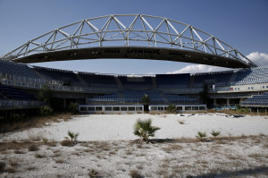 The abandoned stadium which hosted the beach volleyball competition during the Athens 2004 Olympic Games is seen south of Athens