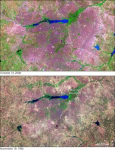 Lo svilippo di Ouagadougou tra il 1986 e il 2006 da immagini della Nasa.